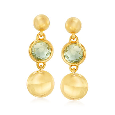 Italian Andiamo 14kt Yellow Gold and 11.00 ct. t.w. Prasiolite Drop Earrings, , default