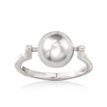 Italian 10mm Sterling Silver Spinable Bead Ring, , default