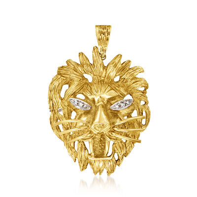 C. 1980 Vintage 18kt Yellow Gold Lion Head Pin/Pendant with Diamond Accents