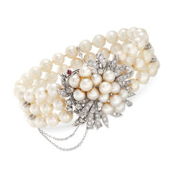 C. 1970 Vintage 5.5-6.5mm Cultured Pearl and 1.75 ct. t.w. Diamond Three-Strand Bracelet With Rubies in 14kt White Gold, , default