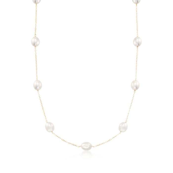 8-8.5mm Cultured Pearl Station Necklace in 14kt Yellow Gold