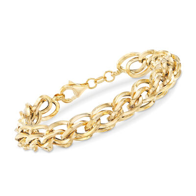Italian Double-Oval Link Bracelet in 18kt Yellow Gold, , default