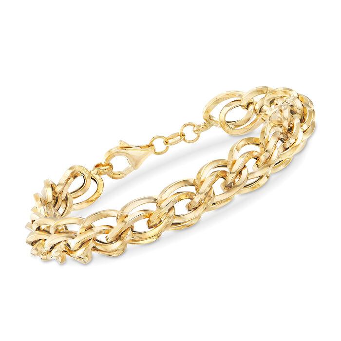 Italian Double-Oval Link Bracelet in 18kt Yellow Gold, , default