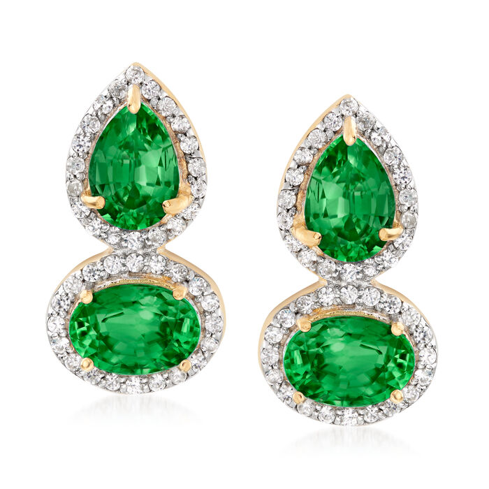 3.30 ct. t.w. Green Diopside and .30 ct. t.w. White Zircon Drop Earrings in 18kt Gold Over Sterling, , default