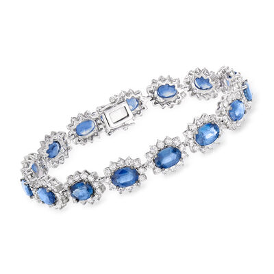 13.00 ct. t.w. Sapphire and 5.95 ct. t.w. Diamond Bracelet in 18kt White Gold, , default