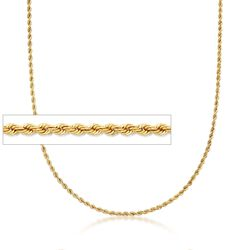 Italian 18kt Yellow Gold Rope Chain Necklace, , default