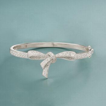 .15 ct. t.w. Diamond Bow Bangle Bracelet in Sterling Silver, , default