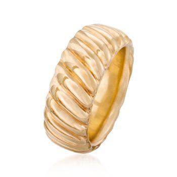Italian Andiamo 14kt Yellow Gold Ribbed Ring. Size 6, , default
