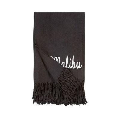 Black Fringe Throw Blanket, , default