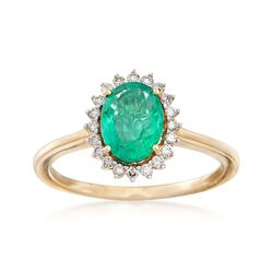 1.20 Carat Emerald and .16 ct. t.w. Diamond Ring in 14kt Yellow Gold, , default