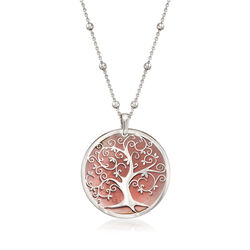 Italian Enamel Tree of Live Pendant Necklace in Sterling Silver, , default