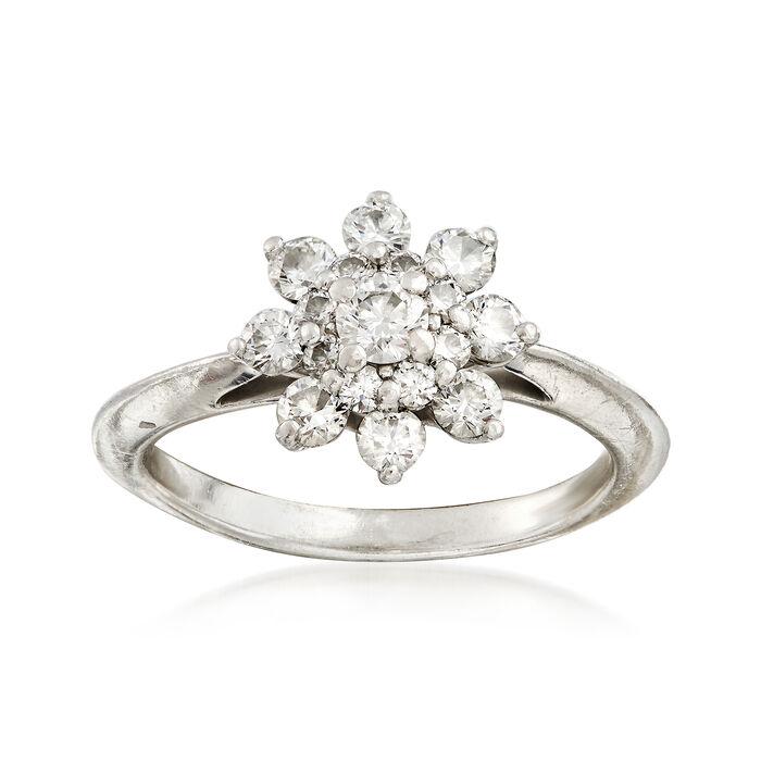 C. 1990 Vintage Tiffany Jewelry .80 ct. t.w. Diamond Cluster Ring in Platinum