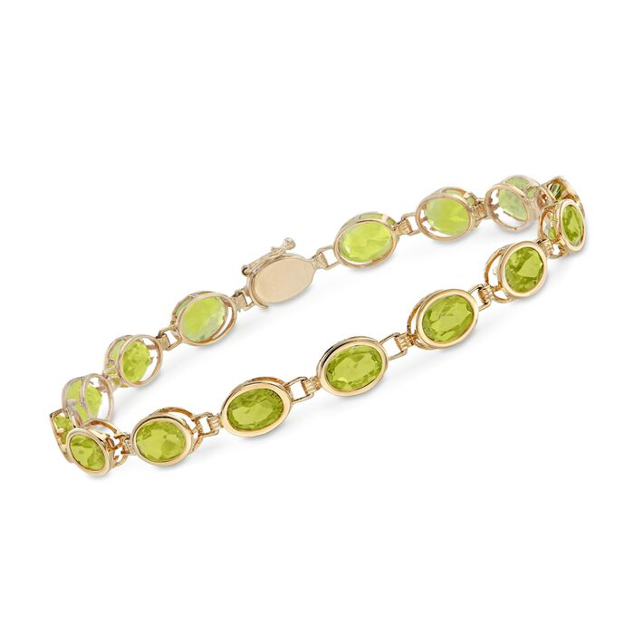 12.00 ct. t.w. Oval Bezel-Set Peridot Bracelet in 14kt Yellow Gold