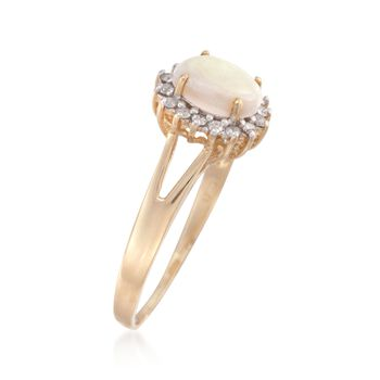 Opal and .20 ct. t.w. Diamond Ring in 14kt Yellow Gold. Size 7, , default