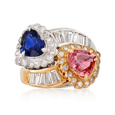 C. 1990 Vintage 1.65 ct. t.w. Pink and Blue Sapphire and 1.25 ct. t.w. Diamond Ring in 18kt Two-Tone Gold, , default