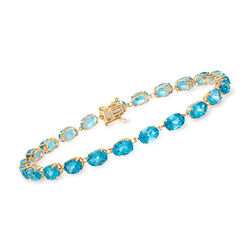 19.00 ct. t.w. Blue Topaz Bracelet in 14kt Yellow Gold, , default