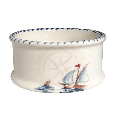 "Abbiamo Tutto ""Sailboat"" Ceramic Pet Bowl from Italy, , default"