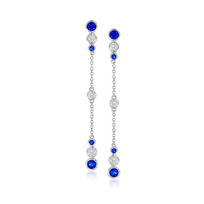 .70 ct. t.w. Simulated Sapphire and .50 ct. t.w. CZ Drop Earrings in Sterling Silver