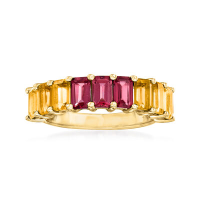 1.40 ct. t.w. Citrine and 1.10 ct. t.w. Garnet Ring in 18kt Gold Over Sterling