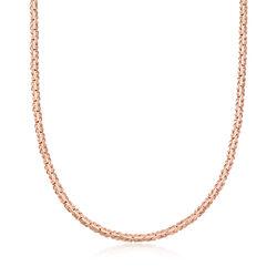 18kt Rose Gold Over Sterling Silver Flat Byzantine Necklace, , default