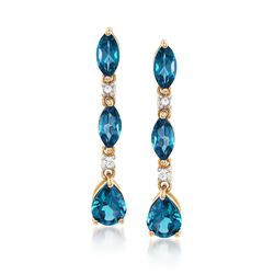 4.70 ct. t.w. London Blue Topaz and .10 ct. t.w. White Zircon Drop Earrings in 14kt Yellow Gold, , default