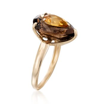 4.00 Carat Smoky Quartz and 1.00 Carat Citrine Ring in 14kt Yellow Gold, , default