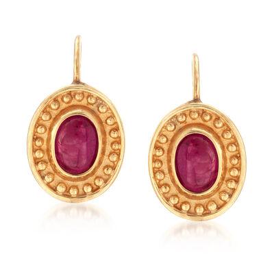 C. 1980 Vintage 1.80 ct. t.w. Ruby Drop Earrings in 14kt Yellow Gold, , default