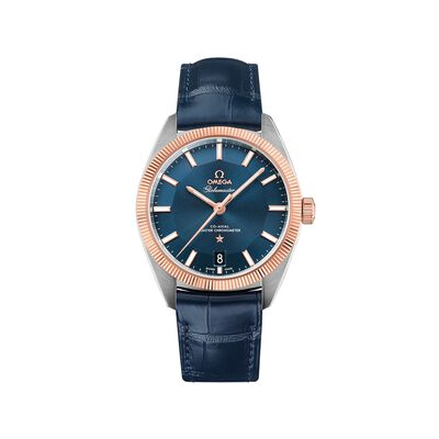 Omega Constellation Globemaster Men's 39mm Stainless Steel and 18kt Rose Gold Watch with Blue Leather Strap, , default