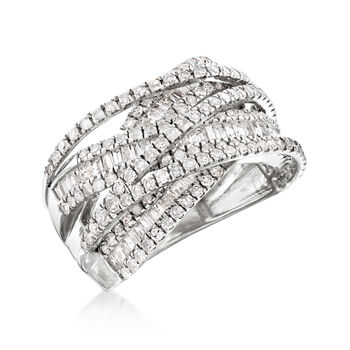 2.00 ct. t.w. Round and Baguette Diamond Highway Ring in 14kt White Gold, , default