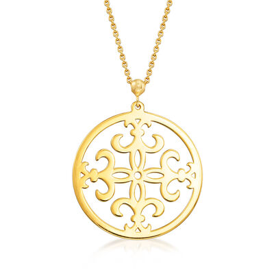 14kt Yellow Gold Fleur-De-Lis Pendant Necklace, , default