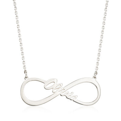 Sterling Silver Open-Space Infinity Name Necklace, , default