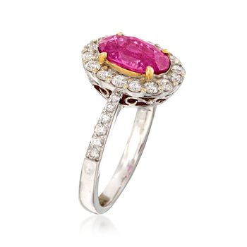C. 2000 Vintage 2.47 Carat Pink Sapphire and .85 ct. t.w. Diamond Ring in 18kt White Gold. Size 6.75