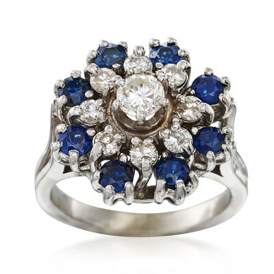 C. 1980 Vintage .80 ct. t.w. Sapphire and .65 ct. t.w. Diamond Cluster Ring in 14kt White Gold