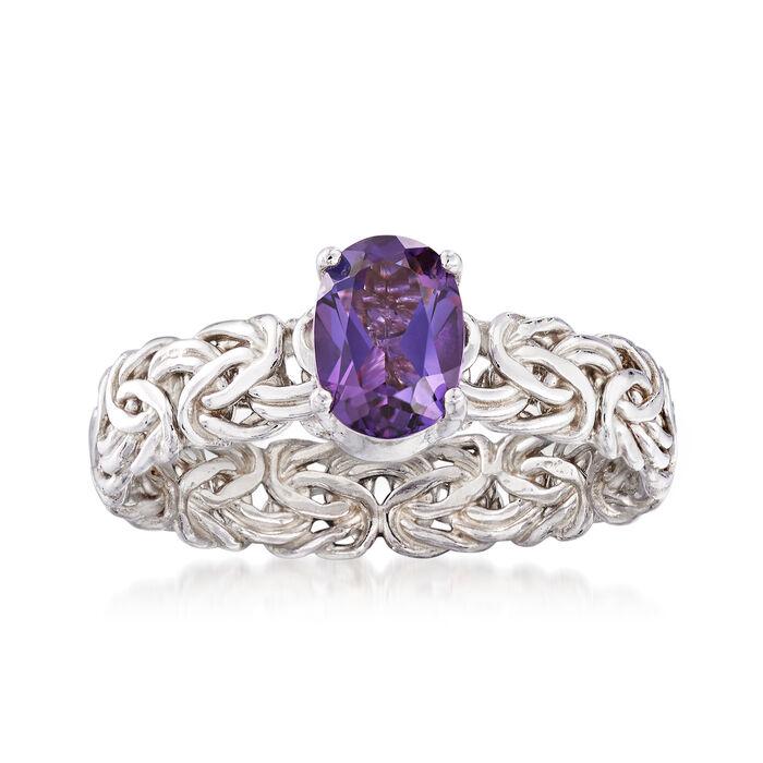 .70 Carat Amethyst Byzantine Ring in Sterling Silver, , default