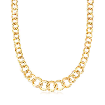Italian Double Curb-Link Necklace in 14kt Yellow Gold, , default