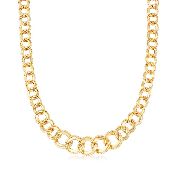 Italian Double Curb-Link Necklace in 14kt Yellow Gold