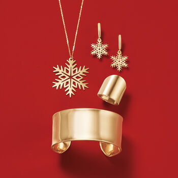 14kt Yellow Gold Large Snowflake Drop Necklace