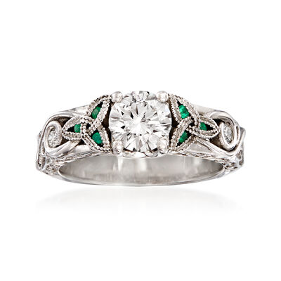 C. 2000 Vintage .80 ct. t.w. Diamond Engagement Ring with Diamond and Emerald Accents in 14kt White Gold