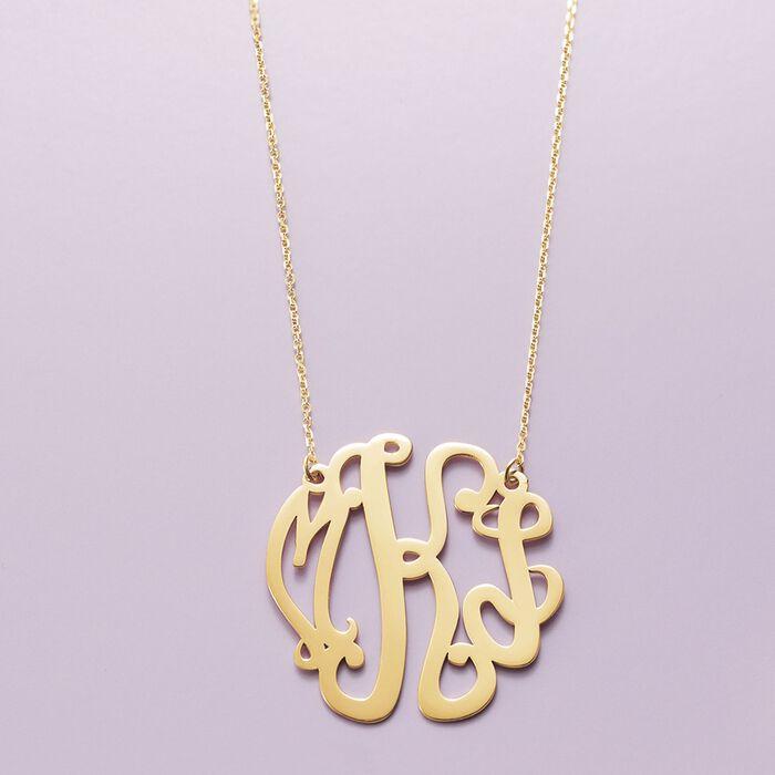 14kt Yellow Gold Medium Script Monogram Necklace