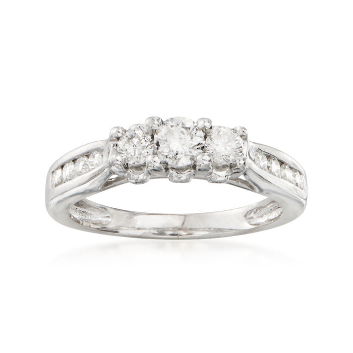 C. 1990 Vintage .50 ct. t.w. Three-Stone Diamond Ring in 14kt White Gold. Size 6