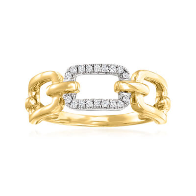 .10 ct. t.w. Diamond Paper Clip Link Ring in 14kt Two-Tone Gold