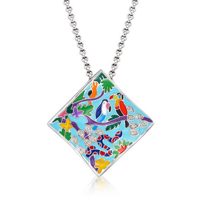 "Belle Etoile ""Tropical Rainforest"" Blue and Multicolored Enamel Pendant with .13 ct. t.w. CZs in Sterling Silver"