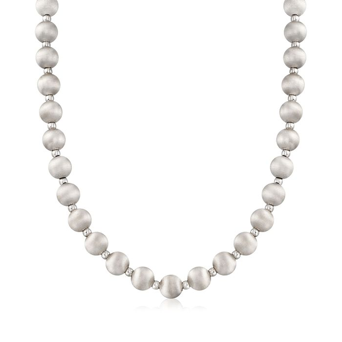 Italian 8mm Sterling Silver Textured and Polished Bead Necklace, , default