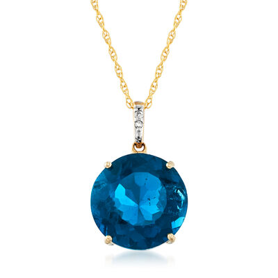 7.00 Carat London Blue Topaz Pendant Necklace in 14kt Yellow Gold, , default