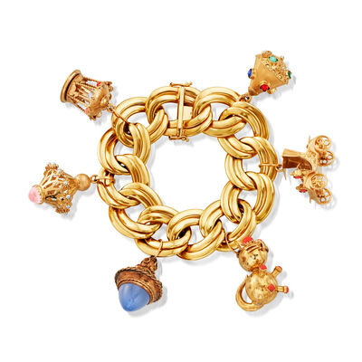 C. 1980 Vintage Multi-Gem Charm Bracelet in 14kt Yellow Gold