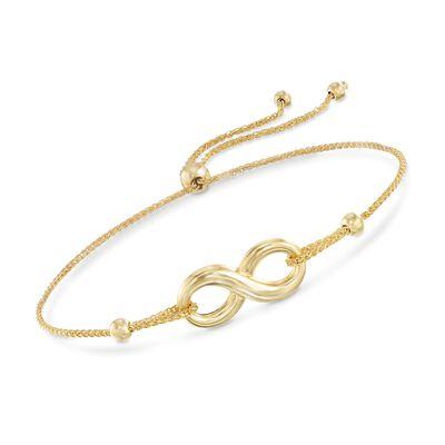 14kt Yellow Gold Infinity Symbol Bolo Bracelet, , default