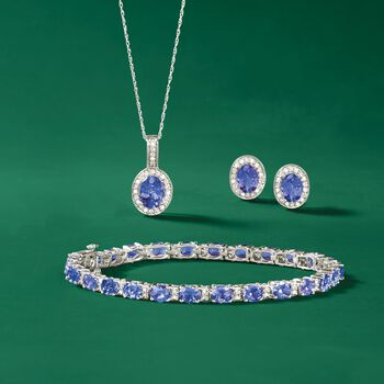 "9.50 ct. t.w. Tanzanite and .31 ct. t.w. Diamond Bracelet in 14kt White Gold. 8"", , default"