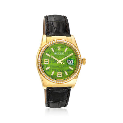 Pre-Owned Rolex Datejust Men's 36mm Automatic 18kt Yellow Gold Watch with Black Leather, , default