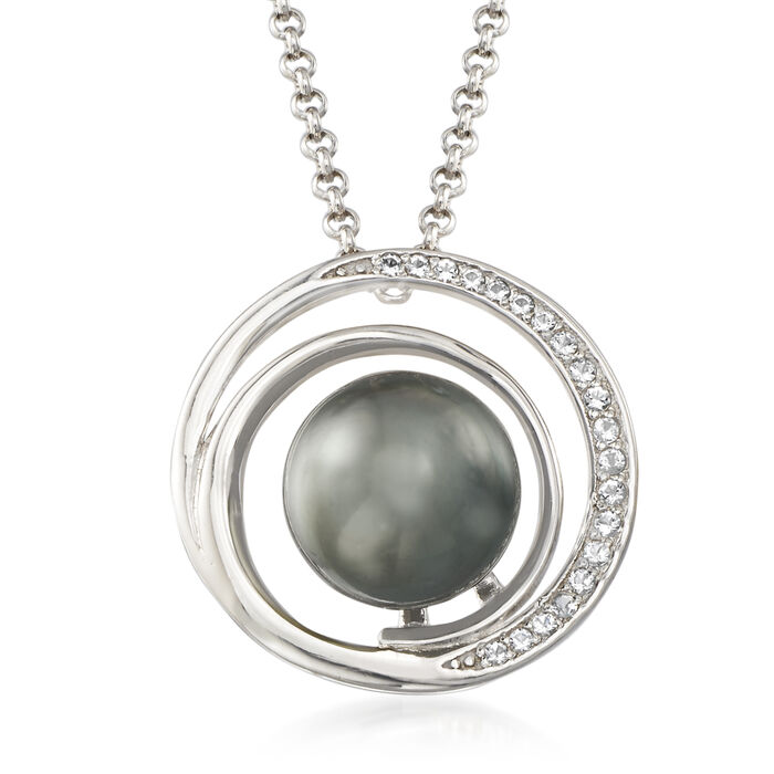 9-10mm Cultured Tahitian Pearl and .15 ct. t.w. White Topaz Pendant Necklace in Sterling Silver
