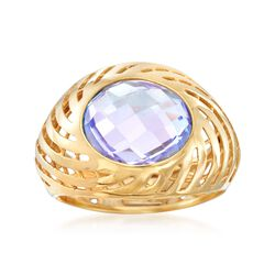 Italian 3.50 Carat Amethyst Swirl Dome Ring in 18kt Yellow Gold, , default